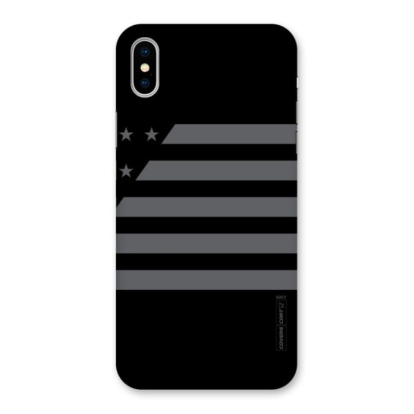 Grey Star Striped Pattern Back Case for iPhone X
