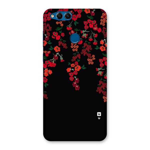 Red Floral Pattern Back Case for Honor 7X