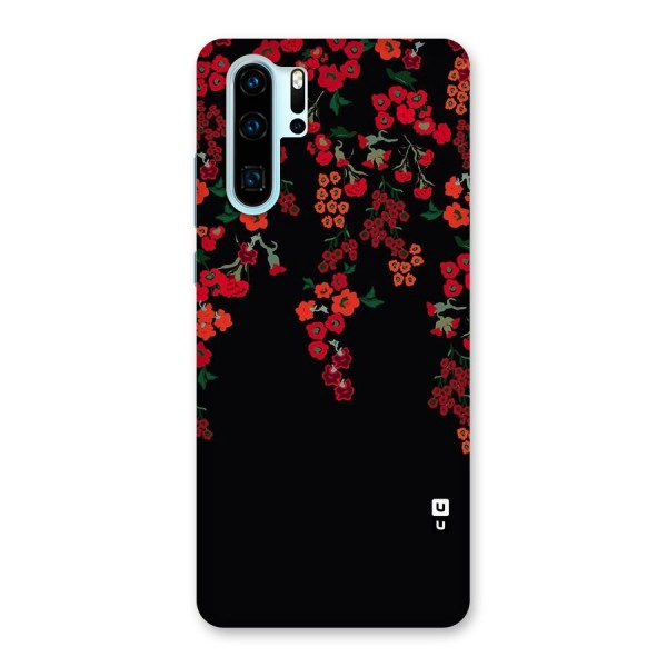 Red Floral Pattern Back Case for Huawei P30 Pro