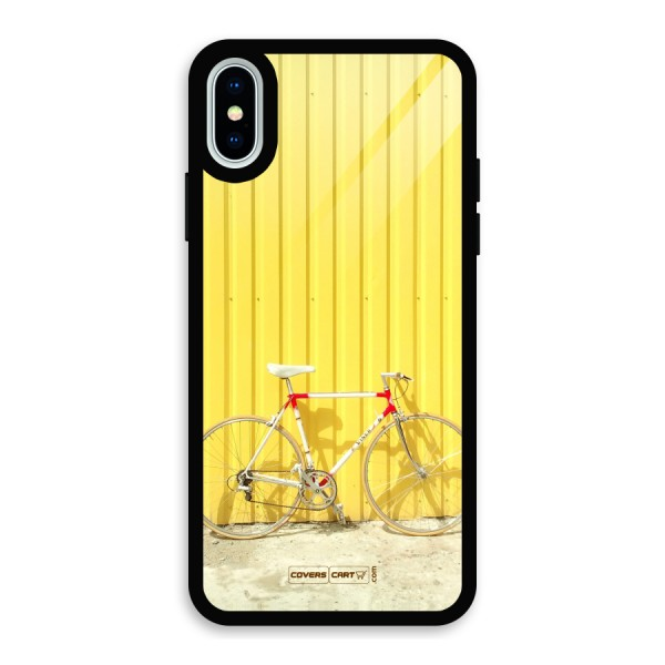 Yellow Cycle Classic Glass Back Case for iPhone X