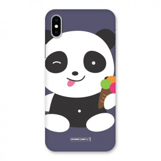 Cute Panda Blue Back Case for iPhone X