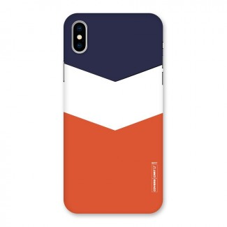 Navy Blue White Orange Arrow Back Case for iPhone X