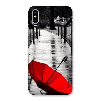 Rainy Red Umbrella Back Case for iPhone X