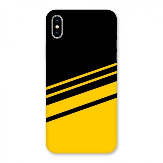 Slant Yellow Stripes Back Case for iPhone X