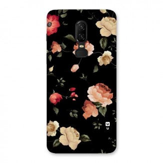 Black Artistic Floral Back Case for OnePlus 6
