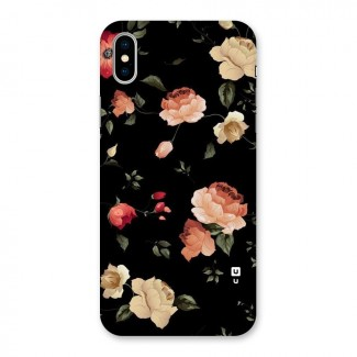 Black Artistic Floral Back Case for iPhone X