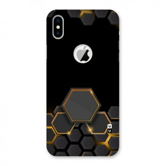 Black Gold Hexa Back Case for iPhone X Logo Cut