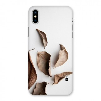 Brown Dusty Leaves Back Case for iPhone X