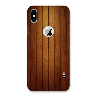Brown Wood Design Back Case for iPhone X Logo Cut