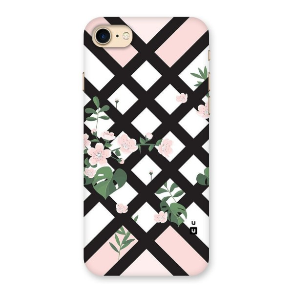 Check Floral Stripes Back Case for iPhone 7