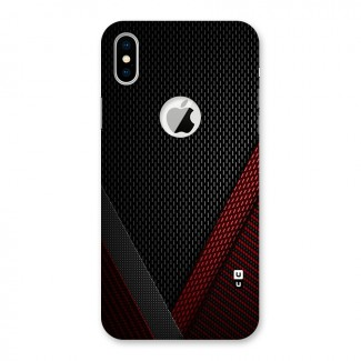 Classy Black Red Design Back Case for iPhone X Logo Cut