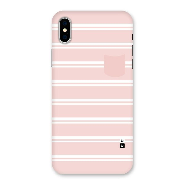 Cute Pocket Striped Back Case for iPhone X