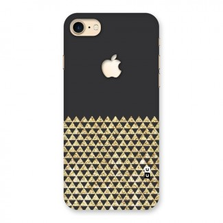 Dark Grey Golden Triangles Back Case for iPhone 7 Apple Cut