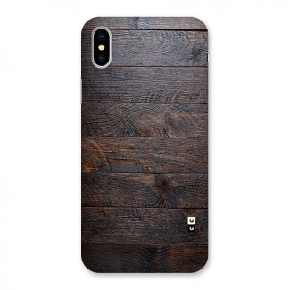 Dark Wood Printed Back Case for iPhone X