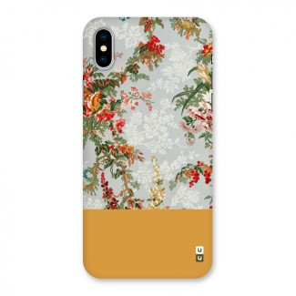 Golden Stripe on Floral Back Case for iPhone X