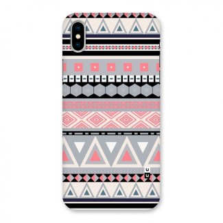 Grey Pink Pattern Back Case for iPhone X