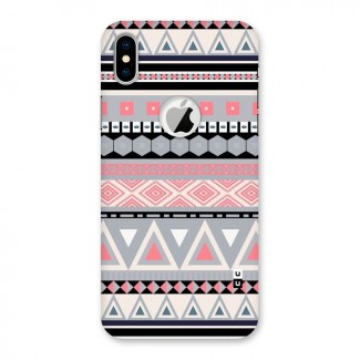 Grey Pink Pattern Back Case for iPhone X Logo Cut