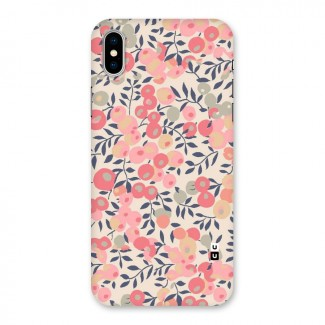 Pink Leaf Pattern Back Case for iPhone X