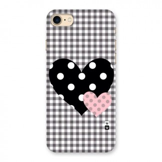 Polka Check Hearts Back Case for iPhone 7