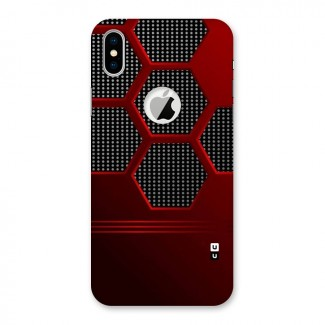 Red Black Hexagons Back Case for iPhone X Logo Cut