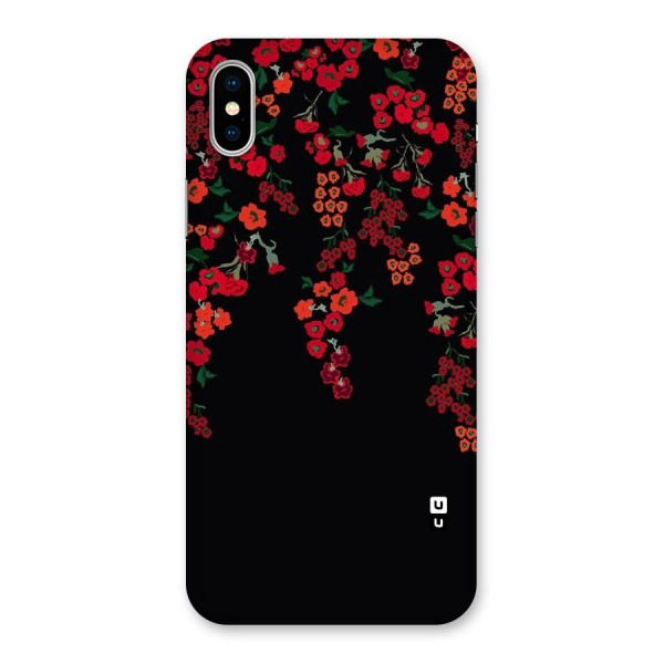 Red Floral Pattern Back Case for iPhone X