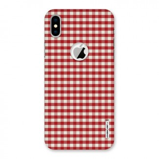 Red White Check Back Case for iPhone X Logo Cut