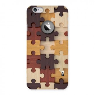 Wooden Puzzle (Printed) Back Case for iPhone 6 Logo Cut