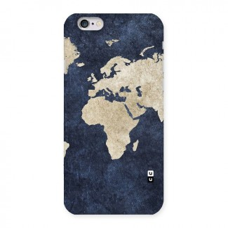 World Map Blue Gold Back Case for iPhone 6 6S