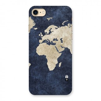 World Map Blue Gold Back Case for iPhone 7