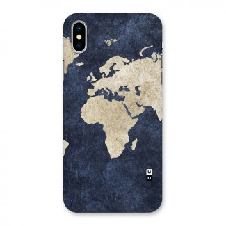 World Map Blue Gold Back Case for iPhone X